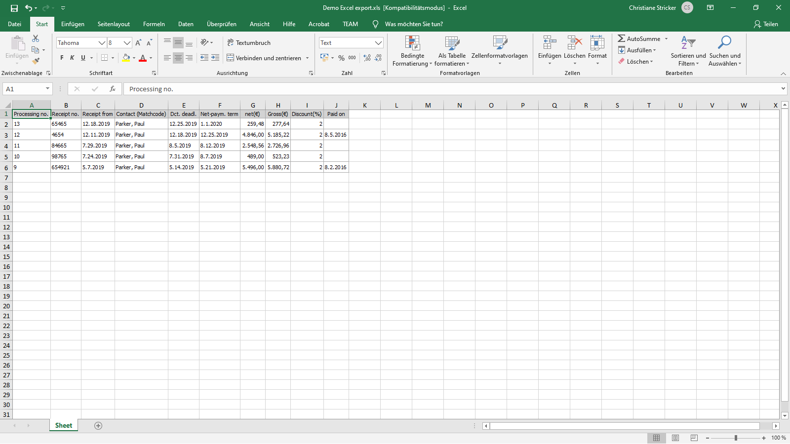 ingenious software incoming receipts excel export